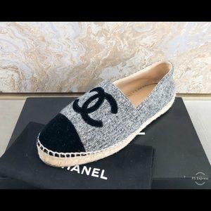 Chanel CC Wool Grey Black Espadrille
